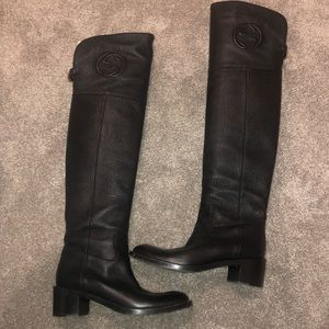 Gucci Shoes - Gucci black knee high boots GG 38.5
